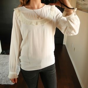 NWOT MANGO MNG BLOUSE PLEAETED CUFFS XL US 10